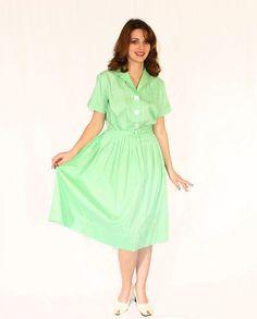 1950s Vintage Swing Dress. Shirtwaist Dress in by ChickClassique, $68.00