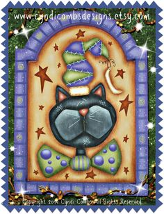 CC164 Halloween Kitty Painting E Pattern - pinned by pin4etsy.com