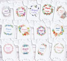 Excited to share the latest addition to my shop: Baby milestone bodysuit set - monthly milestone floral flowers. Baby Girl Gifts, New Baby Gifts, Baby Shower Gifts, Shower Baby, Personalized Baby Clothes, Baby Sewing Projects, Christmas Baby, Christmas 2019, Baby Vest