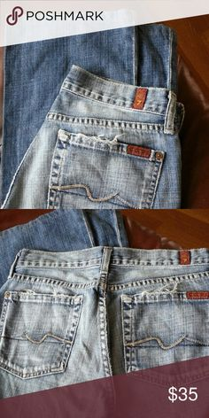 "7 for all man kind jeans 7 for all man kind jeans Approximately measures waist: 14"", length 37"", inseam 29"", leg open 8.5"".  Please No Offer, No Bundle with other items.  ONLY  $5 OFF if you buy 2 jeans 7AMK and / or Rock & Republic.  Thanks for looking. 7 for all Mankind Jeans"