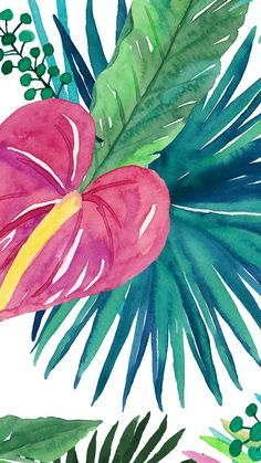 #Tropical floral plant vibes iphone wallpaper or background #watercolor #green…