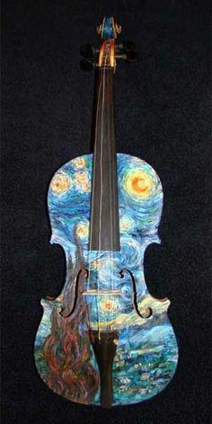 Violon peint inspiration Van Gogh