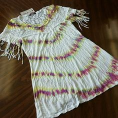 BRAND NEW!! TIE DYE RIB TOP W FRINGES BRAND NEW!! TIE DYE RIB TOP W  FRINGES ON SHOULDER AREA. HAS LACE DETAIL ON FRONT AND BACK .   MADE IN USA T party Tops Tees - Short Sleeve