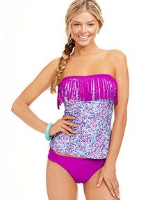 Fringed Tankini Top & Side-Tab Bottoms - Macy's