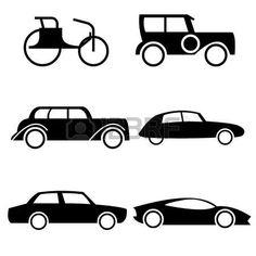 Ikonok képviselő evolúció az autók a történelem. photo