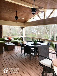 Covered Porch Photos - Charlotte Decks and Porches, LLC - Modern Design Covered Deck Designs, Covered Patio Design, Covered Decks, Covered Porches, Screened Porch Designs, Screened In Deck, Backyard Patio Designs, Screened Porches, Backyard Porch Ideas