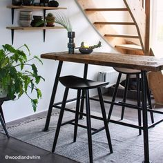 Add modern Scandi style to your home with our Hatton bar stool in black wood, new to Cult Furniture. Retro Bar Stools, Wooden Bar Stools, Modern Stools, Kitchen Stools, Bar Kitchen, Wooden Chairs, Home Decor Kitchen, Diy Home Decor, Modern Retro