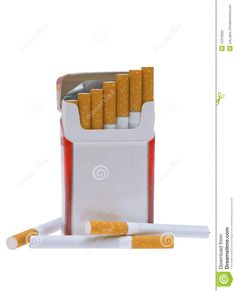 Pack of Cigarettes | Open pack of cigarettes and a cigarette on a white background.