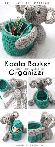 Koala Crochet Basket Organizer Free Pattern | DIY