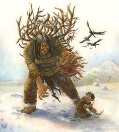 Organized Chaos • doormouseetcappendix: Inuit Mythology... Mythology Books, World Mythology, Dark Fantasy, Fantasy Art, Dragons, Native American Mythology, Legends And Myths, Norse Vikings, Cryptozoology