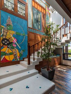 Indian Interior Design, Indian Home Design, Traditional Interior, Traditional House, India Home Decor, Ethnic Home Decor, Pichwai Paintings, Hanging Paintings, Indian Interiors