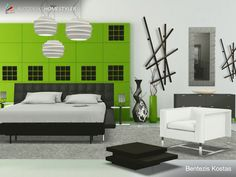 Sehen Sie sich mein #Innendesign 'Black and Green design Bed room by C