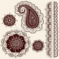 Henna Tattoo Paisley Flower Doodles Vector — Stockvectorbeeld #8693111