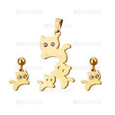 juego colgante y aretes de gato con cristal de dorado en acero inoxidable-SSSTG954627