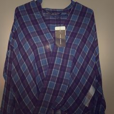Zara Woman Size Small Sheer Plaid Wrap Top brand new with tags, never been worn, sheer blue plaid top with wrap front and long sleeves with button detailing on cuffs, back of shirt slightly longer than front Zara Tops Blouses