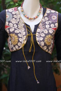 Different types of jacket for kurtis - Simple Craft Ideas Churidhar Neck Designs, Churidhar Designs, Blouse Neck Designs, Kurti Patterns, Blouse Patterns, Kurti With Jacket, Traditional Jacket, Sleeves Designs For Dresses, Frock Dress