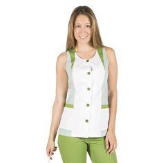 6092 blusa limpieza Carol, en manga corta, con botones y vichy verde oliva. Gary's