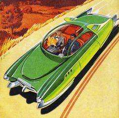 On a scale of 99 to 100 how cool is this car? More cool stuff: Nostalgia for The Future fallout future futurism futuristic retro futurism retro futuristic retro car retro cars retro art deco art future cars