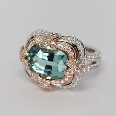 Tourmaline Ring in 18K White and Rose Gold by Oliver Smith Jeweler.
