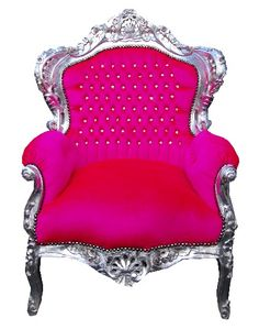 Vintage style shabby chic french hot pink throne chair by Made With Love