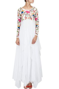 White multi colour embroiderd floor length gown by PURVI DOSHI.Shop the designer now at: www.perniaspopups... #perniaspopupshop #purvidoshi #newcollection #softhues #stunning #fashion #amazing #style #white #fabulous #musthave #happyshopping