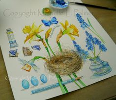Yellow & Blue Collection, Michelle Palmer Watercolor