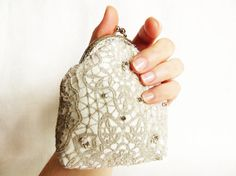 High fashion Coin purse in silver lace and ivory by LoveThirties