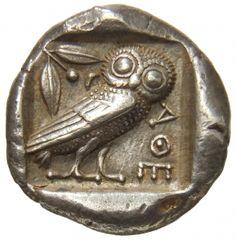 Tetradracma - argento - Atene (460-440 a.C.) - A-Θ-E civetta di tre quarti vs.dx., ramo di ulivo con foglie e bacca, in incuso -  Münzkabinett Berlin