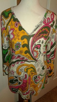Lucky  Brand  Ladies  knit  top tunic  multi-color  SZ L Paisley pattern LS #LuckyBrand #KnitTop #Casual