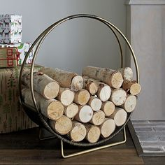 Antiqued Brass Log Holder | Crate and Barrel