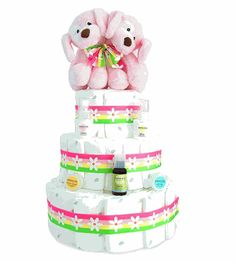 Twin Girls Diaper Cake! - Free Shipping!