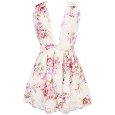 Multi-Way Floral Printed Chiffon Wide-Leg Romper (£17) ❤ liked on Polyvore featuring jumpsuits, rompers, floral jumpsuit, floral print jumpsuit, wide leg jumpsuits, pink jumpsuits and jump suit