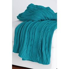 Rizzy Home Cable Knit Cotton Throw ($59) ❤ liked on Polyvore featuring home, bed & bath, bedding, blankets, turquoise, cable knit blanket, rizzy home bedding, cotton cable knit throw blanket, cotton cable knit throw e turquoise throw