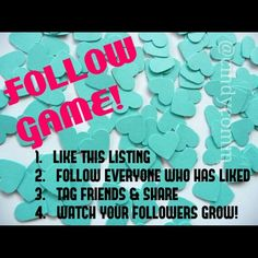 "So Close! ONLY 175 to go! PLS SHARE! This is my very 1st Follow Game, and my goal is 15K! Let's help each other gain followers, exposure and sales - It's so simple, and fun: Just Like this listing, Follow those who have liked this listing, and Share with your friends and followers! An absolutely fantastic way to gain more followers! Posh compliant closets only, please - if you are not compliant, I will not follow you back - if you have Qs about Posh compliance, please read my ""OMG"" listing…"