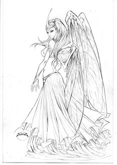 Soulfire 8 cover pencils by joebenitez on DeviantArt Fairy Coloring Pages, Adult Coloring Book Pages, Printable Adult Coloring Pages, Coloring Books, Art Sketches, Art Drawings, Pencil Drawings, Drawing Tutorials, Drawing Techniques