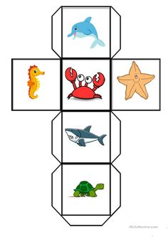 My students love playing with dice. They both have fun and practice their vocabulary. This dice is about some of the SEA animals, you can cut it out and stick. Animal Worksheets, Animal Activities, Montessori Activities, Animal Games, Science Activities, Patron Cube, Farm Animals Preschool, Sunday School Kids, Cute Doodles
