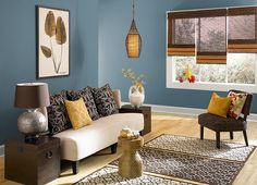 This is the project I created on Behr.com. I used these colors: CATALINA COAST(PPU13-03),SWISS COFFEE(12),