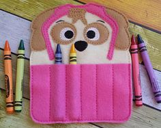Construction Pup Felt Crayon Holder  Chase Crayon Holder
