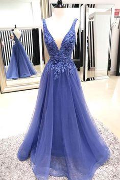 Blue v neck tulle lace long prom dress, blue evening dress