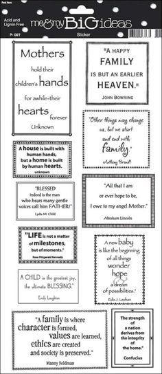 """Family Quote Sayings Stickers 5.5""""X12"""" Sheet STP-21 - Scrapbooking Stickers"""