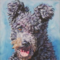 Hungarian Pumi Dog art CANVAS print of LA Shepard by TheDogLover