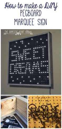 Did you know you can make a marquee sign with just pegboard, string lights, and 2 boards?  See how easy it is to a make a marquee for the nursery, gallery wall, coffee bar, or whatever you'd like!  See how at TheDomesticHeart.com