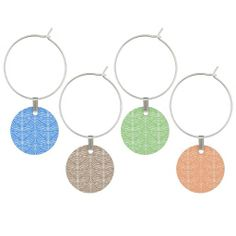 Stripes Pattern Wine Charms Set ...........This design features a striped pattern. Colors are: Blue, Brown, Green and Orange. Check out more wine charms in my store.