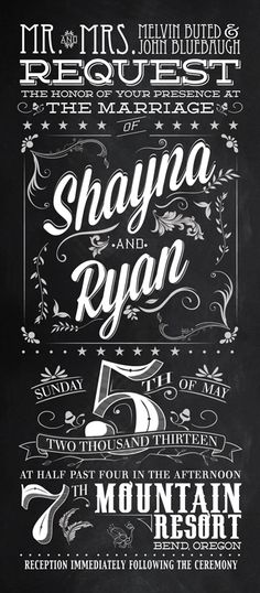 Graphic Design Inspiration. Wedding Invitations by Michael Williamson, vintage typeopgraphy on Chalkboard canvas..