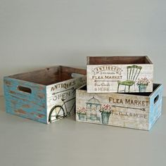 Homes on Trend Shabby Wooden Storage Box Flea Market Crate Vintage Rustic Style - 3 Sizes Decoupage Box, Decoupage Vintage, Vintage Diy, Vintage Crates, Ikea Storage Boxes, Plastic Box Storage, Wood Crates, Wood Boxes, Fruit Box