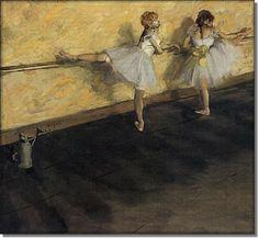 Obraz olejny - Tancerki Przy Drążku - Edgar Degas - RamaRama.pl