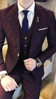 Men's Fashion 2019 Mens Casual Suits, Dress Suits For Men, Stylish Mens Outfits, Mens Suits, Suit For Men, Blazer Outfits Men, Mens Fashion Blazer, Suit Fashion, Wedding Suits