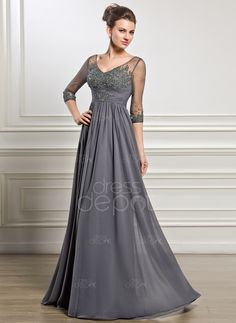 A-Line/Princess V-neck Floor-Length Chiffon Mother of the Bride Dress With Ruffle Beading Appliques Lace Sequins (008056889)