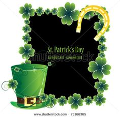 Leprechaun hat and a horseshoe on the clover frame. St. Patrick's Day attributes. by Regular, via Shutterstock