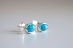 Turquoise earrings. Sterling silver Turquoise studs. Turquoise studs, Boho earrings, Blue Turquoise, silver studs, silver earrings. by masaoms on Etsy